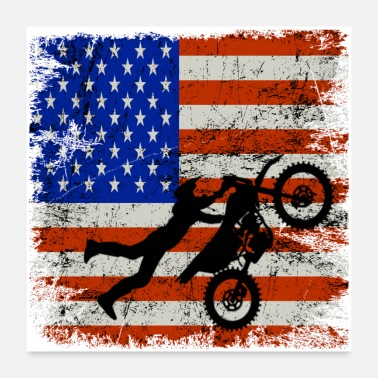 Motorcycle Dirt Bike American Flag Shirt 4th of july t shirt - Poster