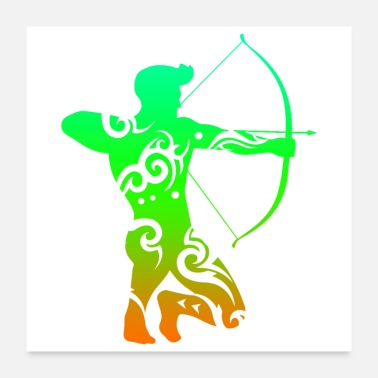 Bowhunter Archery Archer Man Tribal Tattoo Gift Idea - Poster