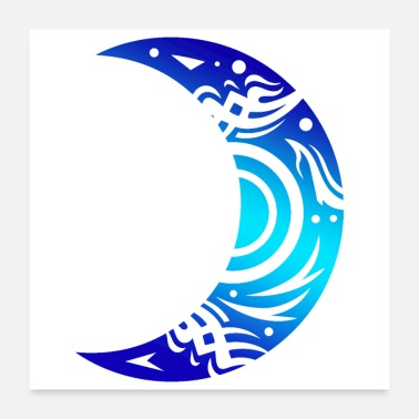 Half Moon Tribal Tattoo Moon Half Shape Moon Lover Gift Idea - Poster