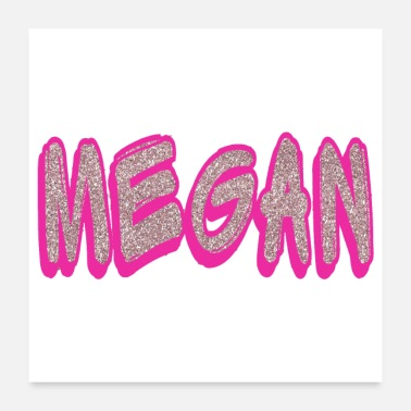 Tag Megan Name Pink Sparkle Gifts - Poster