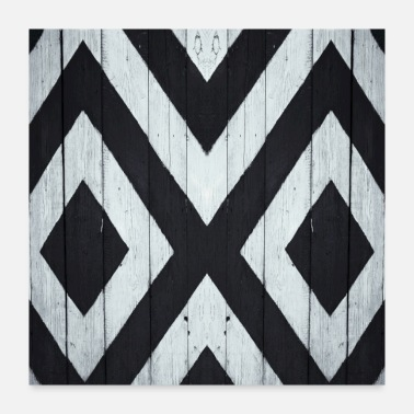 Wooden White and black wooden board - Poster