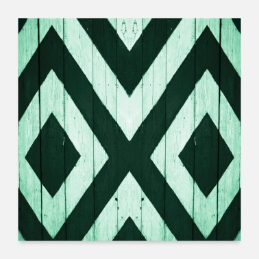 Wooden White and green wooden board - Poster