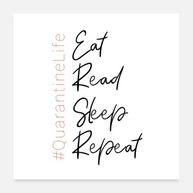 Read Eat Read Sleep Repeat Motivational Quote Quarentin - Poster