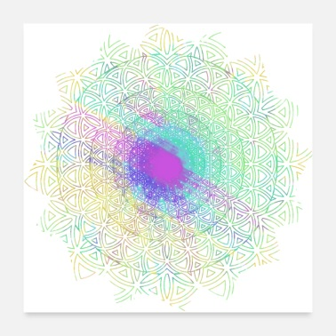 Hippie Flowers Flower of Life, Hippie Mandala Two - Poster