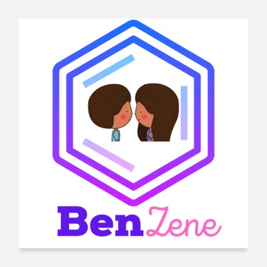 Chemist Chemistry Inspired Benzene Ring Love Illustration - Poster