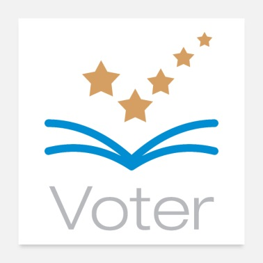 Check Voter Logo With Check Mark Stars - Poster