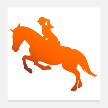Fan Horse Riding Girl Silhouette Gift Idea - Poster