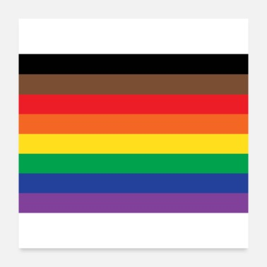 Rainbow Flag rainbow pride flag with black and brown - Poster