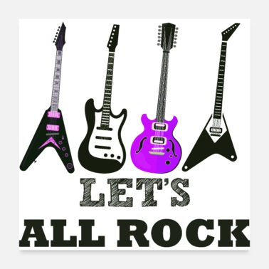 Rock 'n' Roll Let's All Rock Rock n Roll Electronic Guitar - Poster