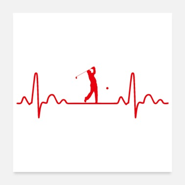 Golf Heartbeat Golf Golfer Funny Gift Idea - Poster