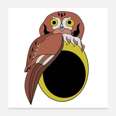 Nocturnal Bird Whimsical Eastern Screech Owl Cartoon - Poster
