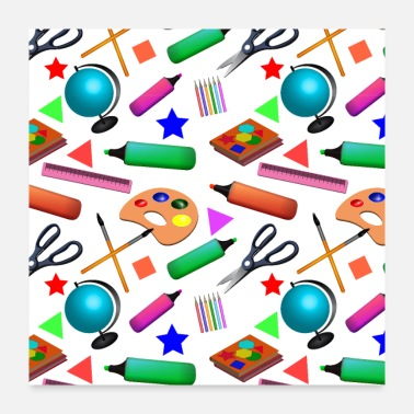 Backhand Back to school. Pattern with school supplies. - Poster