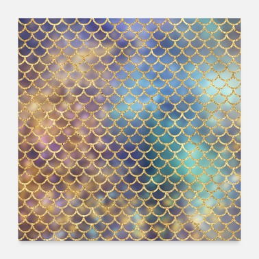 Chic Gold Glitter Mermaid Pattern Sparkle Chic Blue - Poster