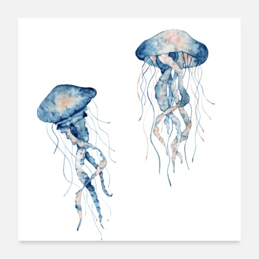 Jet Watercolour Jellyfish - Poster