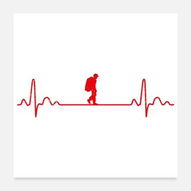 Backpacker Heartbeat Backpacking Travel Backpacker Funny Gift - Poster