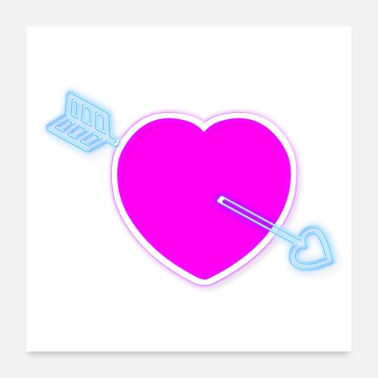 Neon pink love heart and blue arrow - Poster
