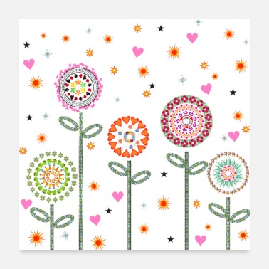 Graphic Art Flowers. Graphic illustration - Poster