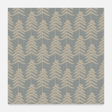 Pine Tree Grey Gold Christmas Pine Trees Pattern - Poster