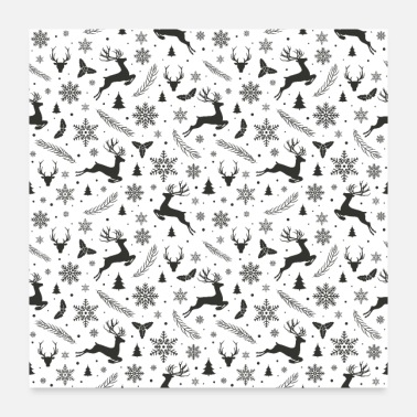 Flake Christmas Pattern with ice Crystal Deer Snow Leaf - Poster