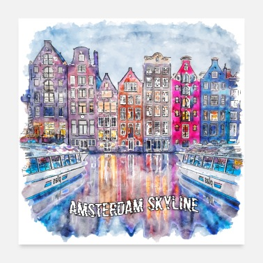 Worst Case Scenerio Amsterdam Skyline Water Colored. Amsterdam - Poster