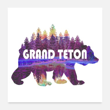 Wyoming Grand Teton National Park Grizzly Bear Nature Art - Poster