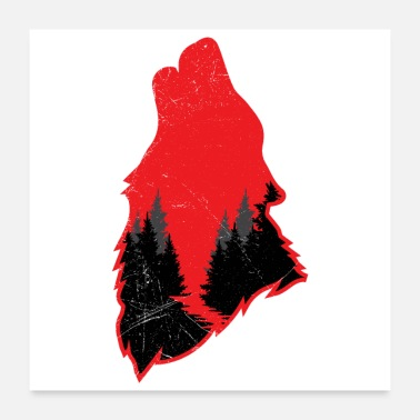 Wildcamping Forest Animals Wolf Funny Gift Idea - Poster