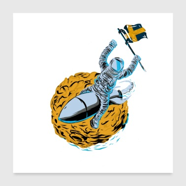 Astronaut Space Flag Sweden - Poster 24x24