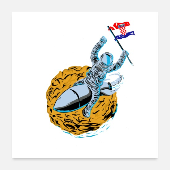 Love Posters - Astronaut Space Flag Croatia - Posters white