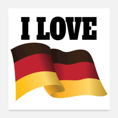German Shepherd Country I love Germany German Flag Flutter - Poster 24x24