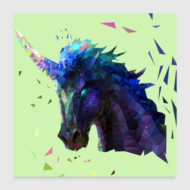 Low Poly Unicorn Design - Poster 24x24