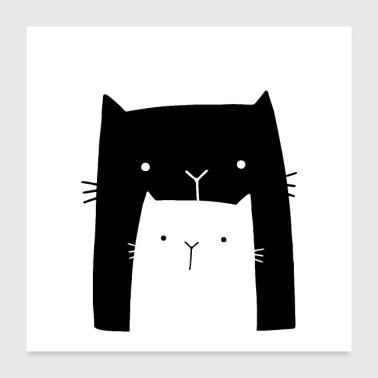 two cats wall art - Poster 24x24