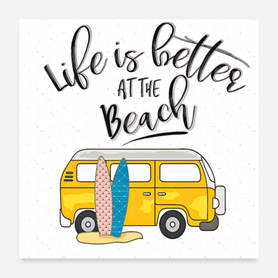 Typography Posters - Life is better at the beach - Posters white
