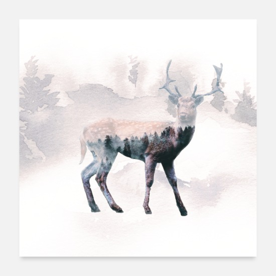 Deer Posters - Deer and the forest - Posters white