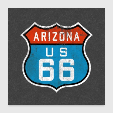 Route 66 Arizona Sign Logo Symbol USA Gifts - Poster 24x24