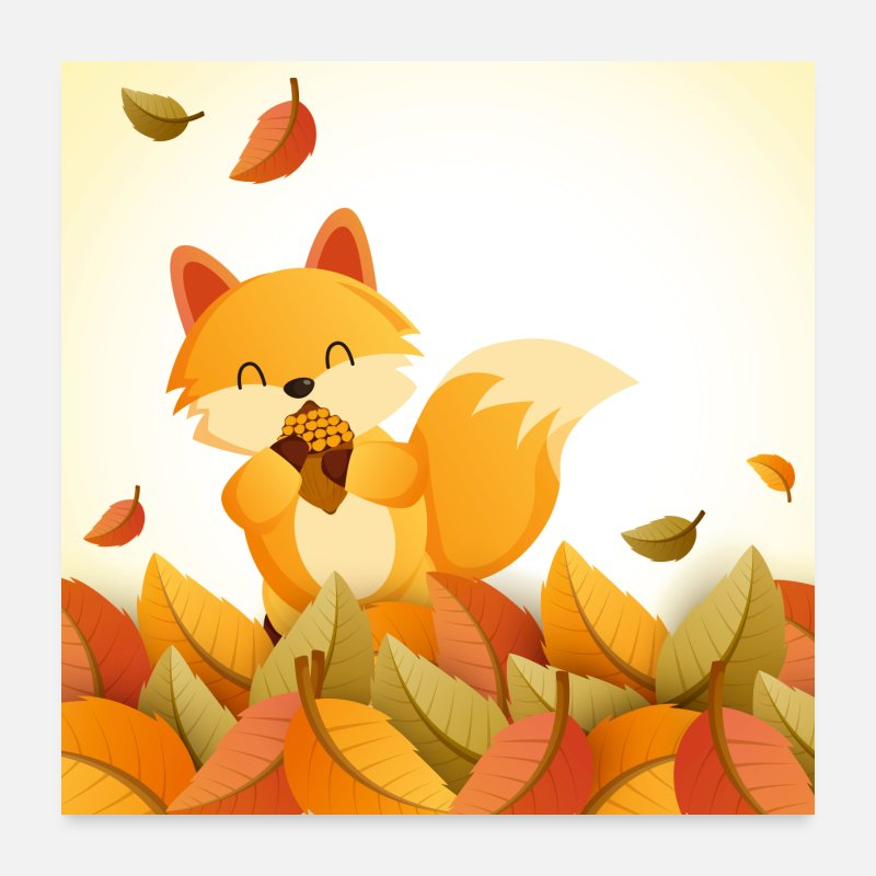 Thanksgiving Posters - Fall Squirrel - Posters white