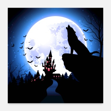 October A moonlight wolf - Poster 24x24