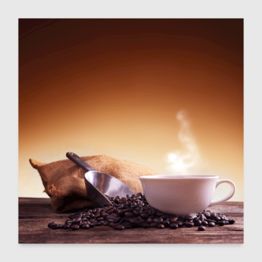 Cup of coffee and coffee beans - Poster 24x24