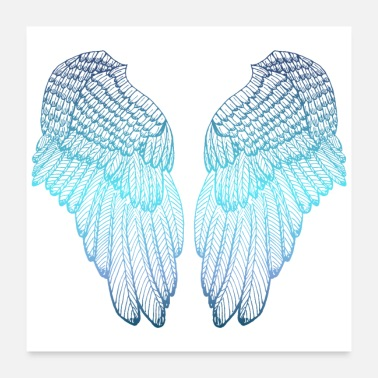 Angel Blue Heart - Angel Wings - Poster 24x24