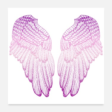 Fluffy Pink Heart - Angel Wings - Poster