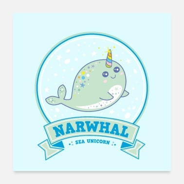 Aquarium narwhal sea unicorn whale blue gift idea poster - Poster 24x24