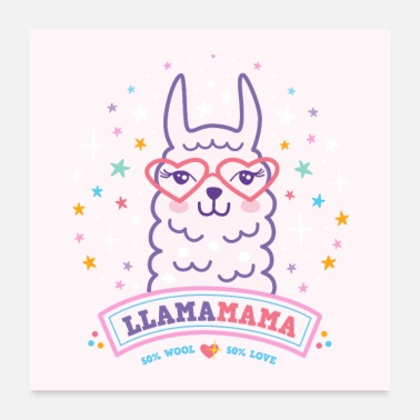 Pregnancy llama mama poster mother´s day birthday gift pink - Poster