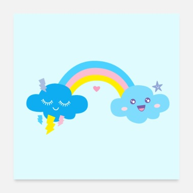 Lightning rainbow kawaii clouds blue poster birthday gift - Poster 24x24