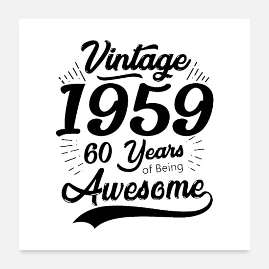 Vintage Car Posters - Vintage 1959 60th Birthday - Posters white