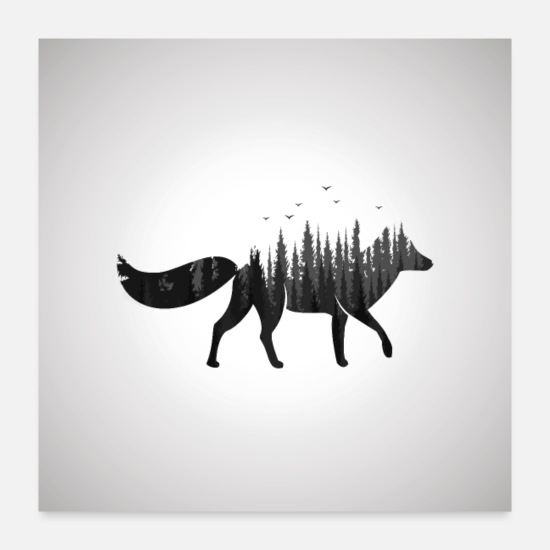 Black Posters - Spirit Fox - Posters white