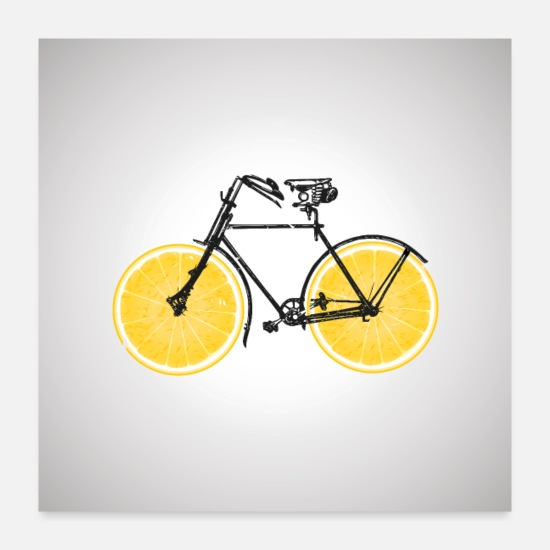 Bicycle Posters - Fruit Bike Bicycle Lemon Lime Orange / Gift Idea - Posters white