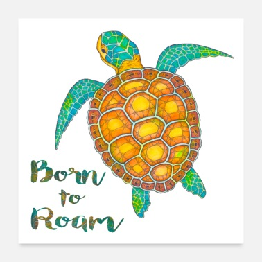 Zentangle Zentangle Seaturtle - born to roam - Poster