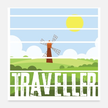 Mill Traveller in mill field - Nature landscape - Poster