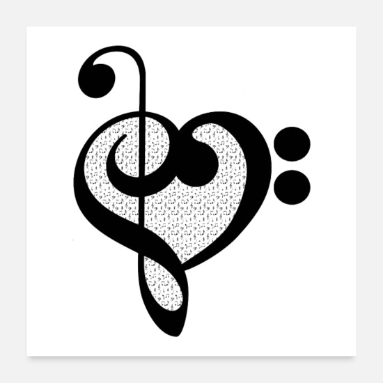 Music Posters - Musician Music Heart Teacher Gift - Black Pattern - Posters white