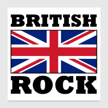 British Rock with Union Jack Flag Poster - Poster 24x24