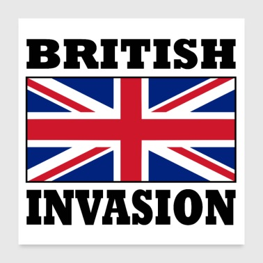 British Invasion with Union Jack Flag Poster - Poster 24x24